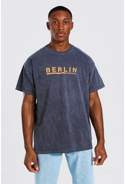 Charcoal grey Oversized Overdyed Berlin Print T-shirt