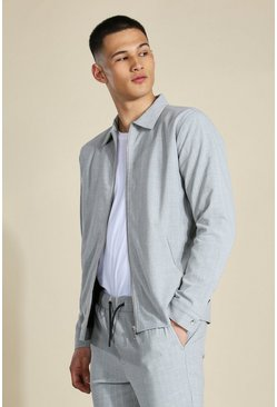 Light grey grey Stripe Harrington Coord Smart Jacket
