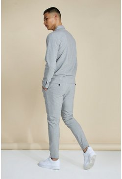 Grey Stripe Skinny Smart Cropped Coord Jogger
