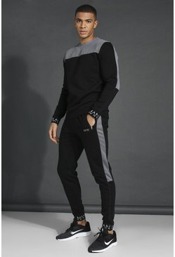 Black Man Active Tech Panel Sweatshirt Tracksuit