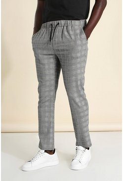 Grey Skinny Check Smart Cropped Jogger