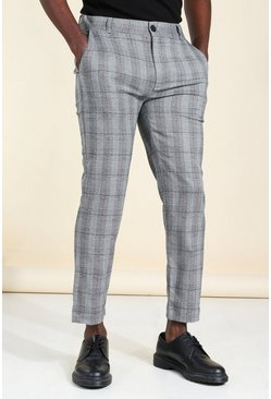 Grey Super Skinny Check Smart Pants