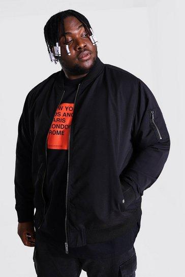 Black Plus Size Ma1 Bomber Jacket