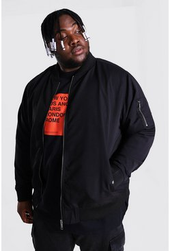 Black Plus Size Ma1 Bomber Jacket