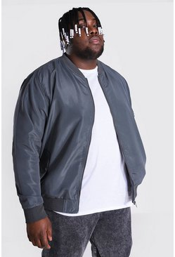 Charcoal grey Plus Size Ma1 Bomber Jacket