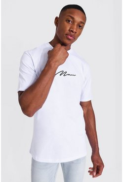 White Man Signature T-shirt With Rolled Sleeves