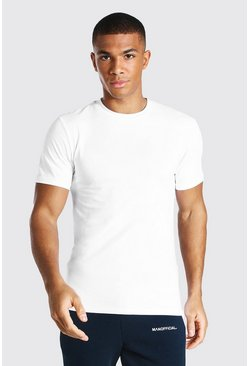 Muscle-Fit Rundhals T-Shirt, Weiß