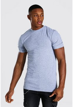 Muscle Fit Crew Neck T-shirt, Grey gris