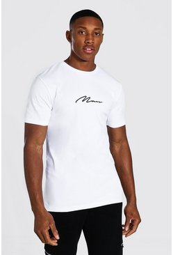White vit Man Signature T-shirt i muscle fit med brodyr