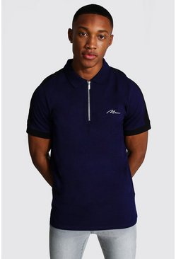 Man Signature 1/4 Zip Polo With Side Panel, Navy Тёмно-синий