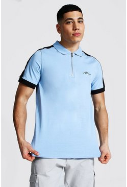 Man Signature 1/4 Zip Polo With Side Panel, Light blue azzurro