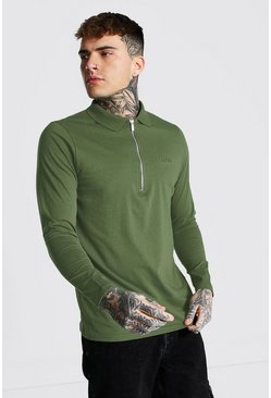 Khaki Original Man Long Sleeve 3/4 Zip Ribbed Polo