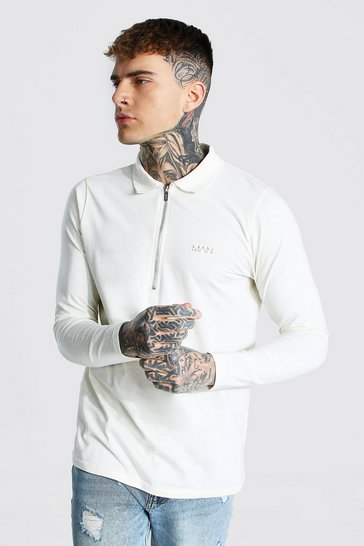 Stone beige Original Man Long Sleeve 3/4 Zip Ribbed Polo
