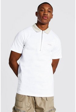 White Original MAN Polo With Contrast Collar