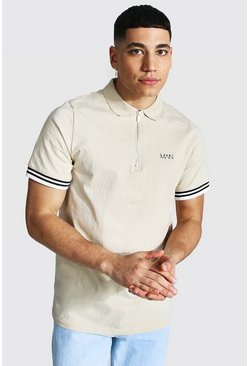 Stone beige Original Man Ribbed Cuffed Zip Polo