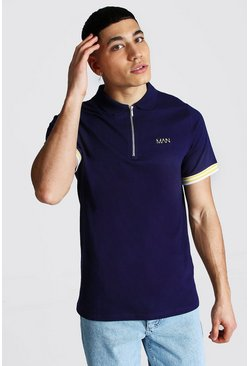 Original Man Ribbed Cuffed Zip Polo, Navy azul marino