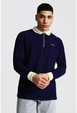 Original Man Long Sleeve Ribbed Cuffed Zip Polo, Navy azul marino