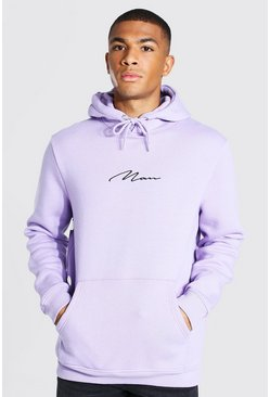 Pale lilac purple Man Signature Embroidered Hoodie