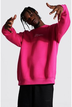 Pink Oversized Man Signature Sweatshirt