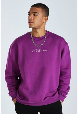 Midnight purple purple Oversized Man Signature Sweatshirt