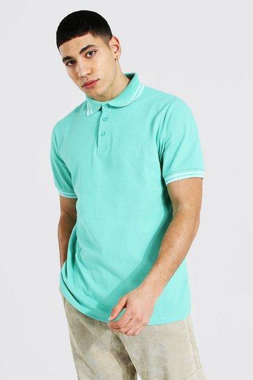 Jade green Tipped Pique Polo