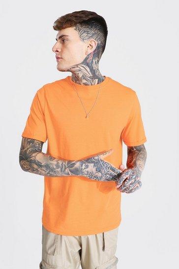 Orange Basic Rolled Sleeve Crew Neck T-shirt