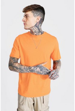 Basic Rolled Sleeve Crew Neck T-shirt, Orange Оранжевый