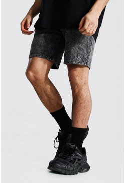 Black Man Mid Length Regular Acid Wash Shorts