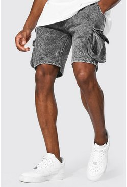 Black Original Man Regular Cargo Acid Wash Shorts