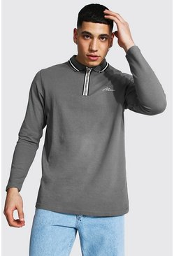 Slate grey Man Signature Long Sleeve Zip Detail Polo