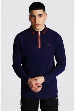 Man Signature Long Sleeve Zip Detail Polo, Navy Тёмно-синий
