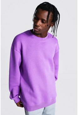 Purple Oversized Crew Neck Sweatshirt