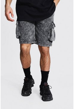 Black Regular Acid Wash Side Panel Shorts