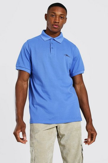 Cornflower blue Man Signature Pique Polo