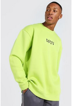 Acid lime yellow Oversized Original Man Sweatshirt