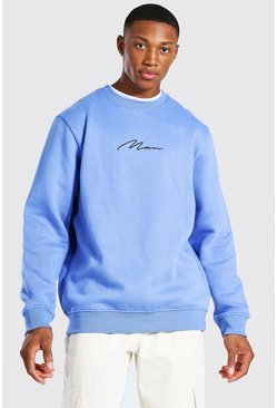 Cornflower blue blue Man Signature Embroidered Sweatshirt