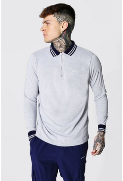 Original Man Long Sleeve Ribbed Cuffed Zip Polo, Grey marl grigio