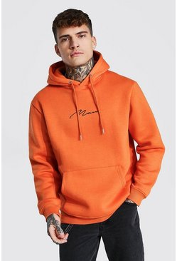 Man Signature Embroidered Hoodie, Orange arancio