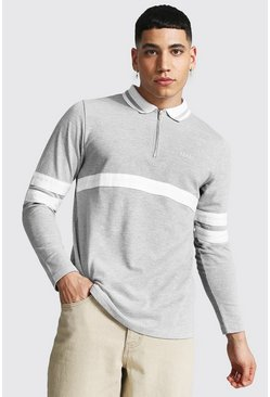 Grey marl grey Original Man Sports Stripe LS Zipped Polo