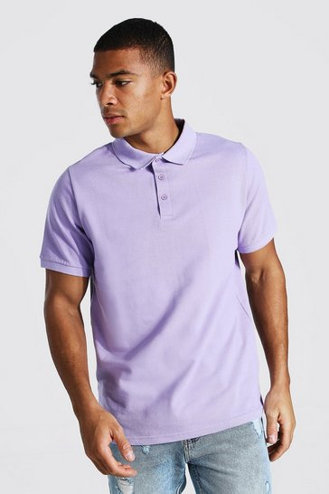 Pale lilac purple Basic Pique Polo