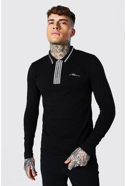 Black Man Signature Muscle Fit Ls Zip Detail Polo