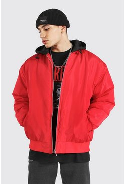 Red Oversized Ma1 Bomber With Jersey Hood
