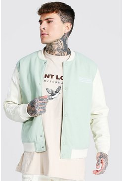 Mint green Melton Bomber With Leather Look Sleeves