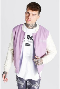 Lilac purple Melton Bomber With Leather Look Sleeves