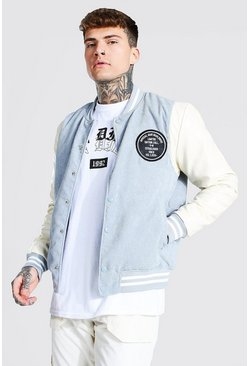 Blue Man Badge Corduroy Varsity Bomber