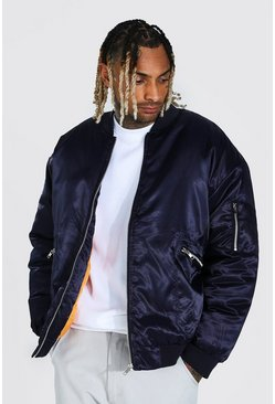Navy Oversized Padded Smart Ma1 Bomber