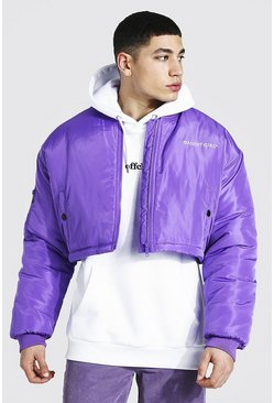Oversized Short Branded Bomber, Purple morado