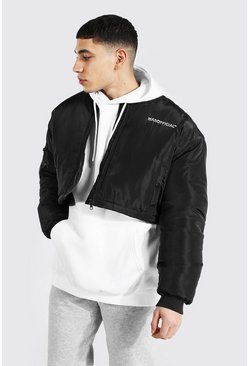 Oversized Short Branded Bomber, Black negro