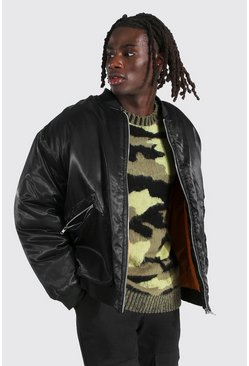 Oversized Padded Smart Ma1 Bomber, Black negro