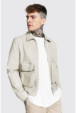 Ecru white Utility Pu Collared Jacket